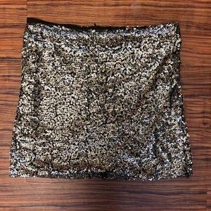 LF Gold Sequin Mini Skirt
